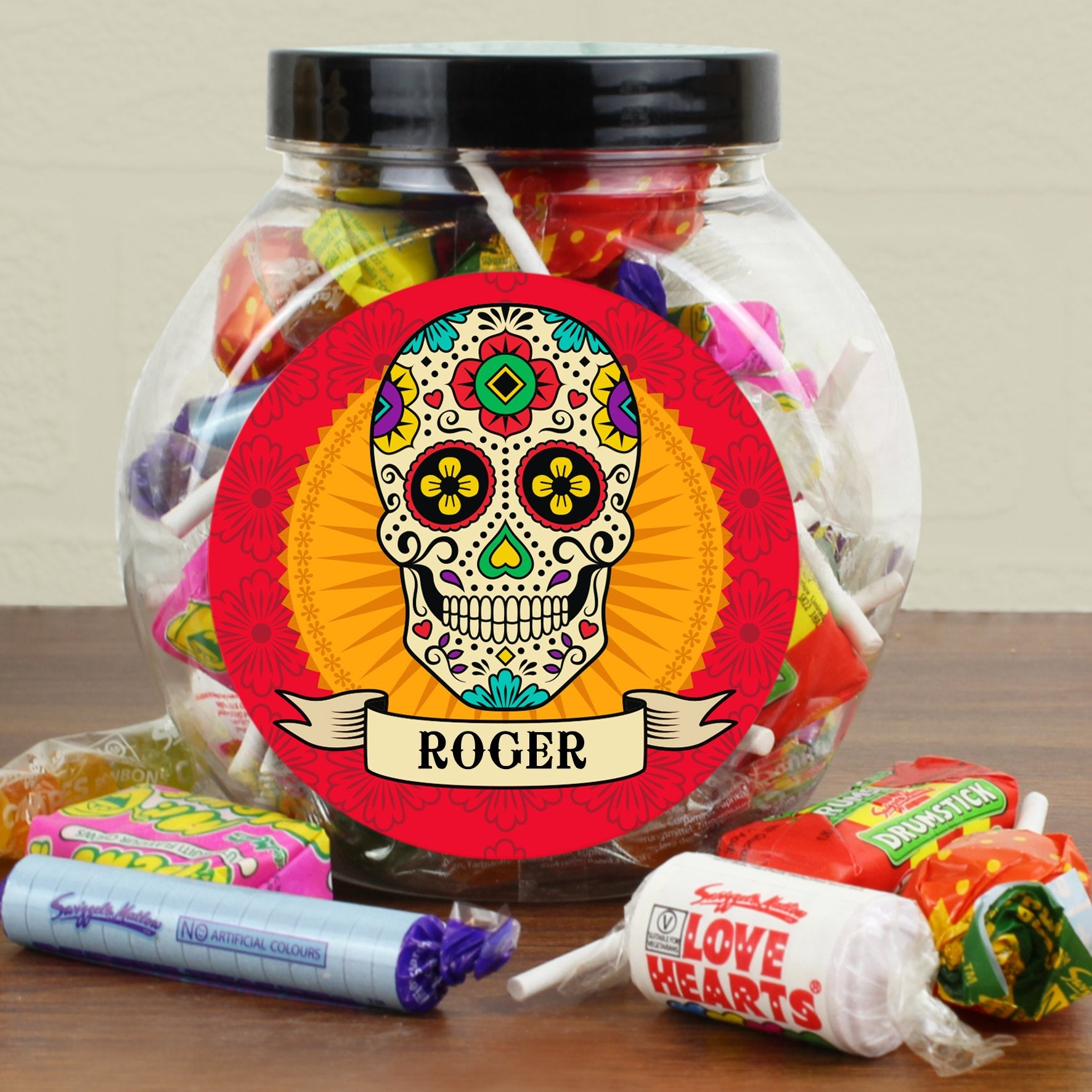 Personalised Halloween Sugar Skull Sweet Jar - Shop Personalised Gifts