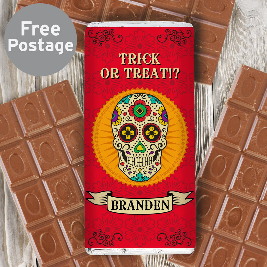 Personalised Halloween Sugar Skull Milk Chocolate Bar - Shop Personalised Gifts