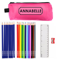 Pink Pencil Case with Personalised Pencils & Crayons - Shop Personalised Gifts