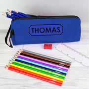 Blue Pencil Case with Personalised Pencils & Crayons - Shop Personalised Gifts