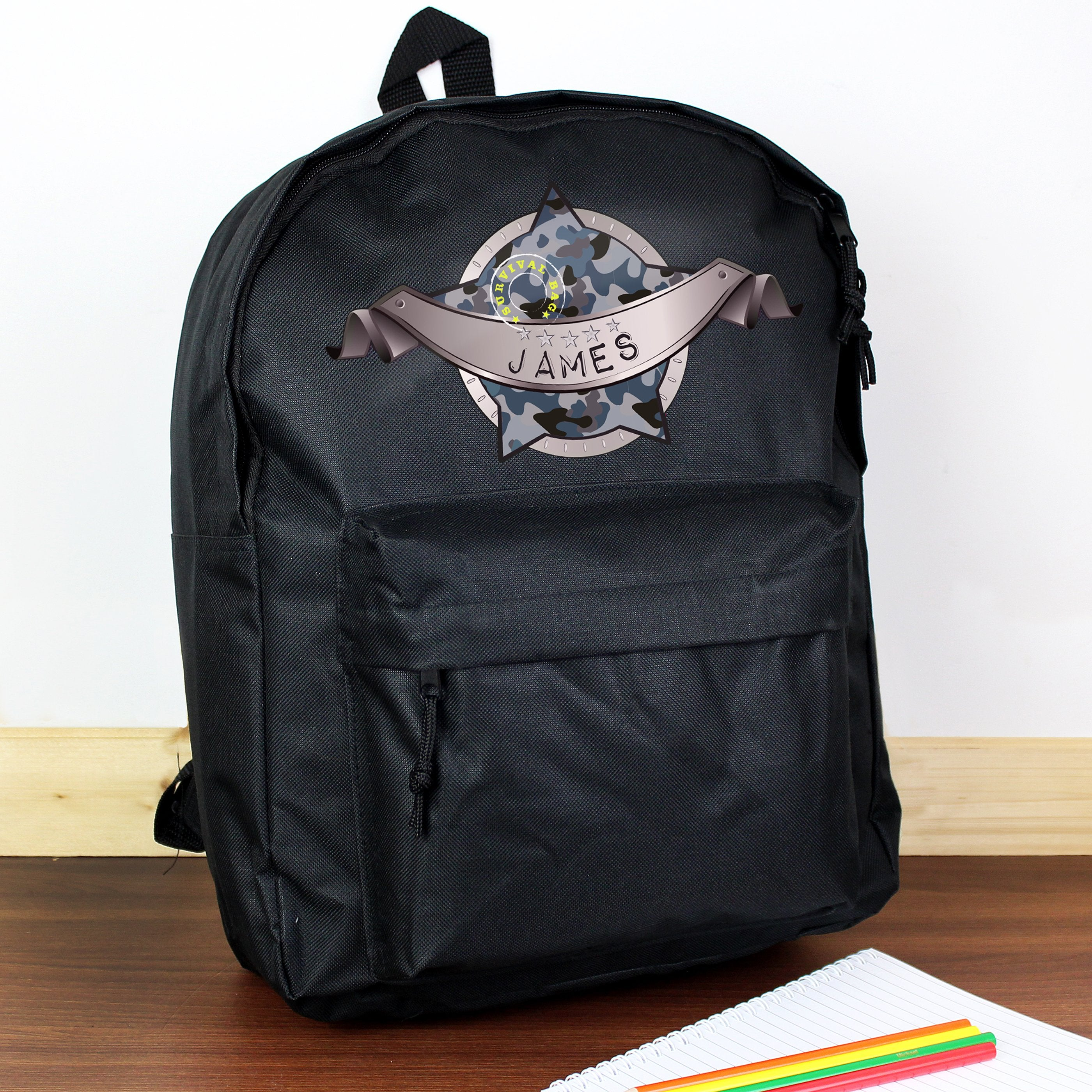 Personalised Army Camo Black Backpack - Shop Personalised Gifts (4498909266006)