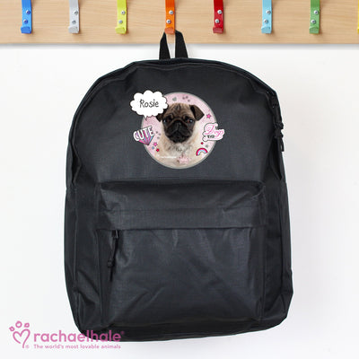 Personalised Rachael Hale Doodle Pug Black Backpack - Shop Personalised Gifts