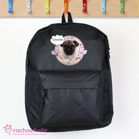 Personalised Rachael Hale Doodle Pug Black Backpack - Personalised Books-Personalised Gifts-Baby Gifts-Kids Books