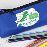 Personalised 'Be Roarsome' Dinosaur Blue Pencil Case - Personalised Books-Personalised Gifts-Baby Gifts-Kids Books