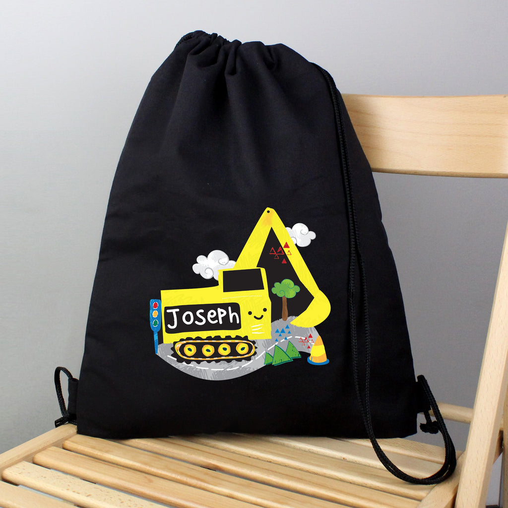 Personalised Digger Black Swim & Kit Bag - Personalised Books-Personalised Gifts-Baby Gifts-Kids Books