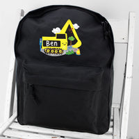 Personalised Digger Black Backpack - Personalised Books-Personalised Gifts-Baby Gifts-Kids Books
