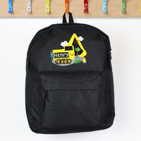 Personalised Digger Black Backpack - shop-personalised-gifts
