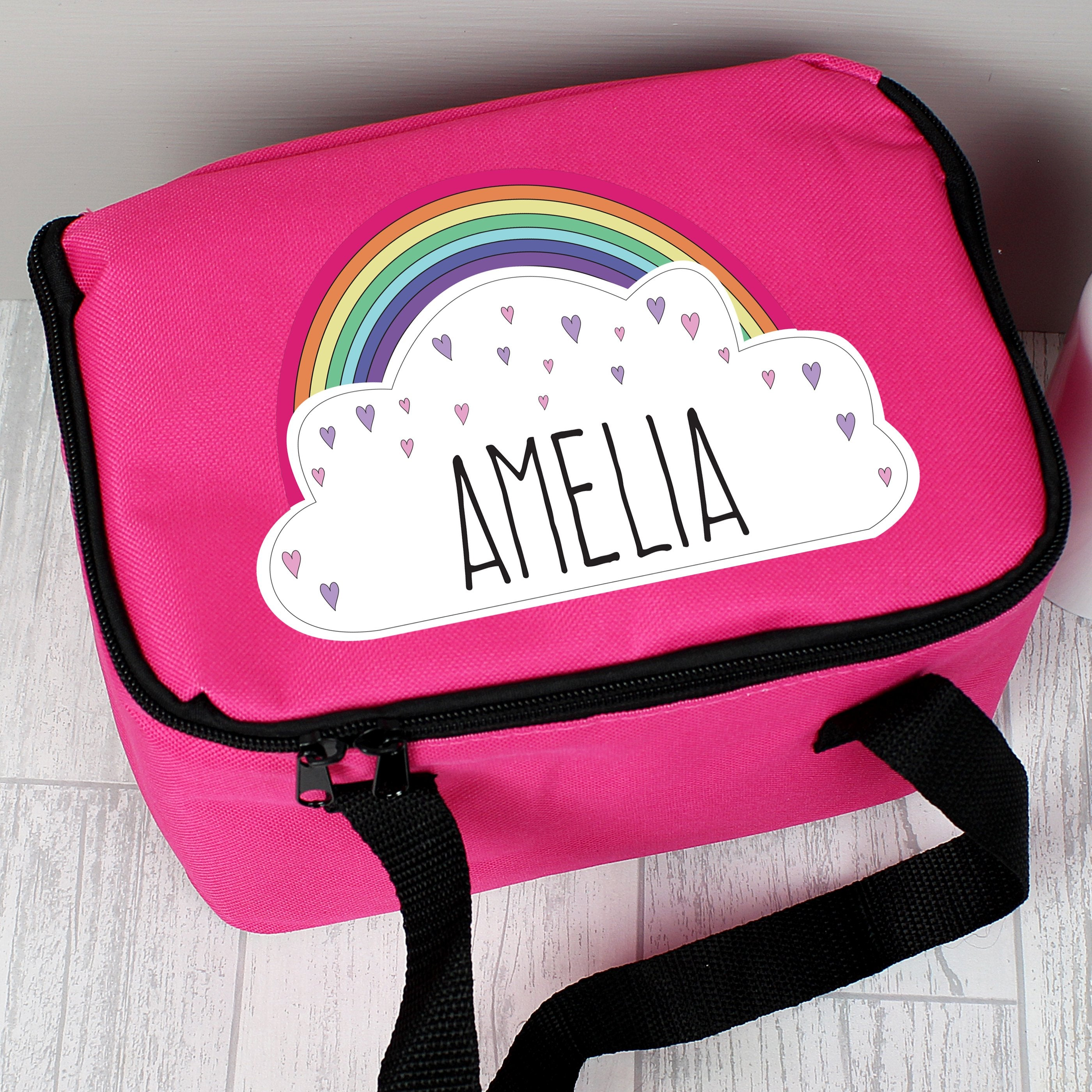 Personalised Rainbow Pink Insulated Lunch Bag - Shop Personalised Gifts