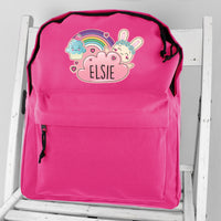 Personalised Cute Bunny Pink Backpack - shop-personalised-gifts