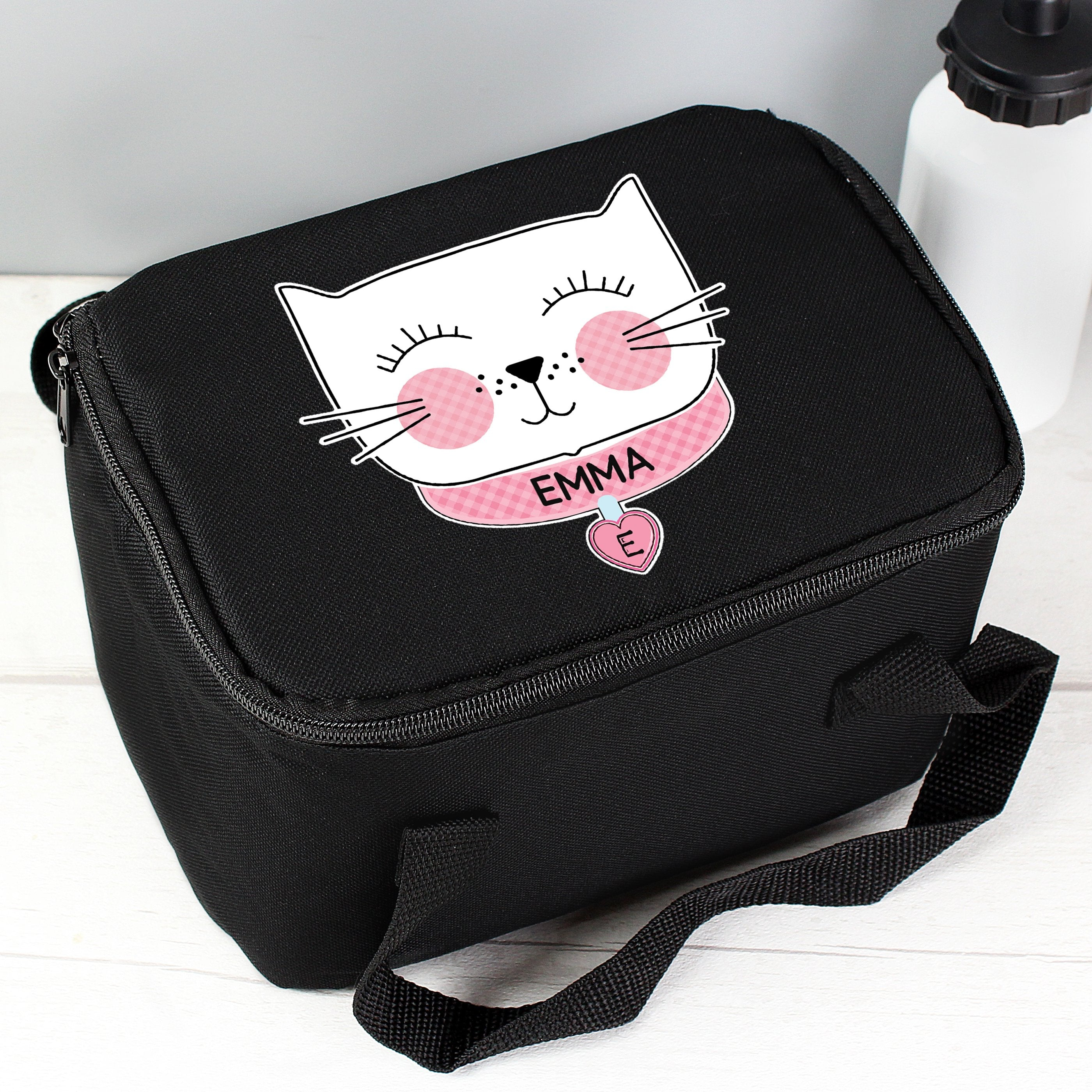Personalised Cute Cat Black Insulated Lunch Bag - Shop Personalised Gifts (4796196290646)