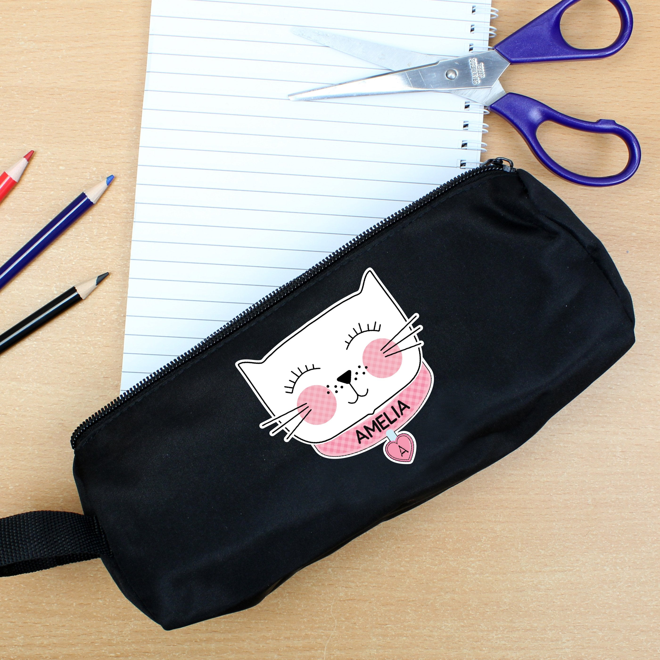Personalised Cute Cat Black Pencil Case - Shop Personalised Gifts (4760320049238)