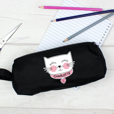 Personalised Cute Cat Black Pencil Case - Shop Personalised Gifts