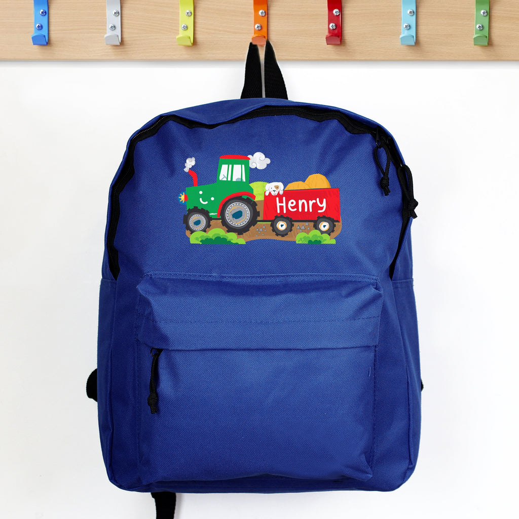 Personalised Tractor Blue Backpack - shop-personalised-gifts