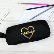 Personalised Gold Heart Black Pencil Case - Shop Personalised Gifts