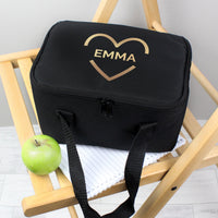 Personalised Gold Heart Black Insulated Lunch Bag - Shop Personalised Gifts