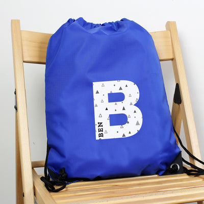 Personalised Initial Blue Kit Bag - Shop Personalised Gifts