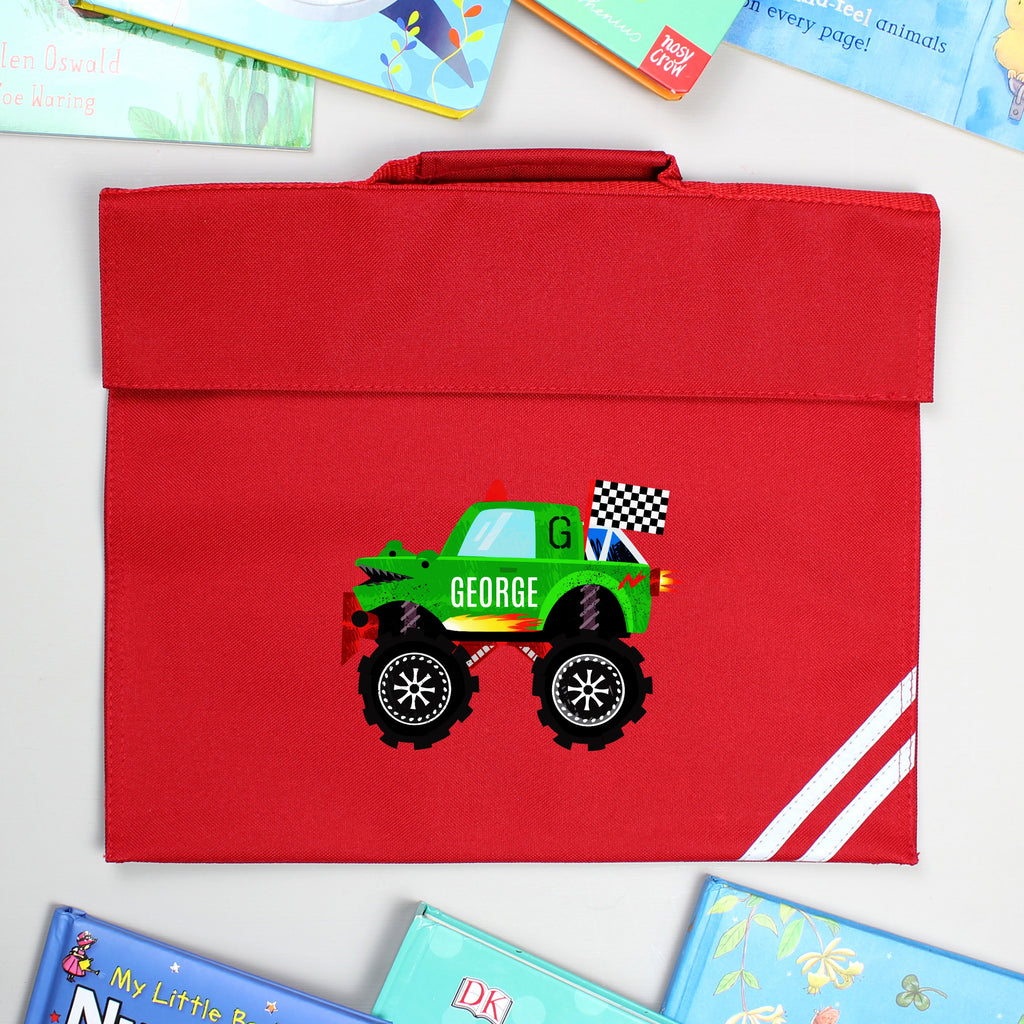 Personalised Monster Truck Red Book Bag - Shop Personalised Gifts