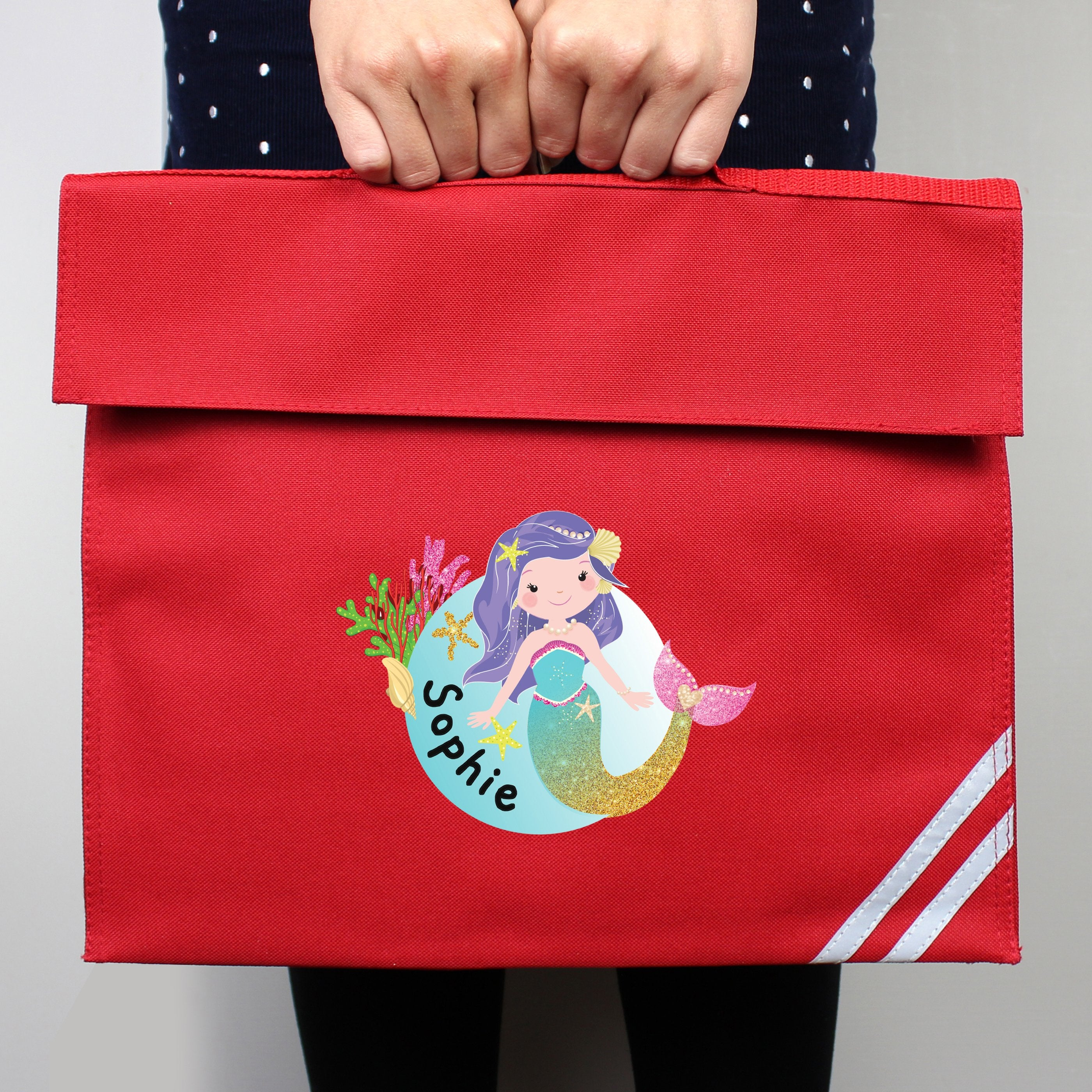 Personalised Mermaid Red Book Bag - Shop Personalised Gifts
