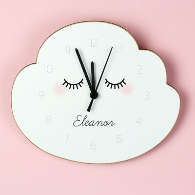 Personalised Eyelash Cloud Shape Wooden Clock - Shop Personalised Gifts
