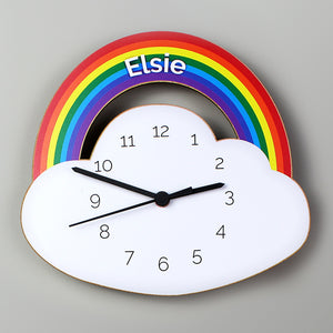 Personalised Rainbow and Cloud Shape Wooden Clock - Shop Personalised Gifts