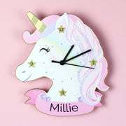 Personalised Unicorn Shape Wooden Clock - Shop Personalised Gifts