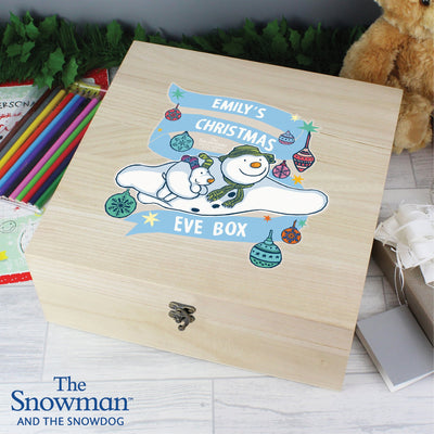 Personalised The Snowman and the Snowdog Large Wooden Christmas Eve Box - Shop Personalised Gifts