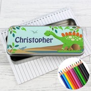 Personalised Dinosaur Pencil Tin with Pencil Crayons - Personalised Books-Personalised Gifts-Baby Gifts-Kids Books