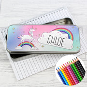 Personalised Unicorn Pencil Tin with Pencil Crayons - Personalised Books-Personalised Gifts-Baby Gifts-Kids Books