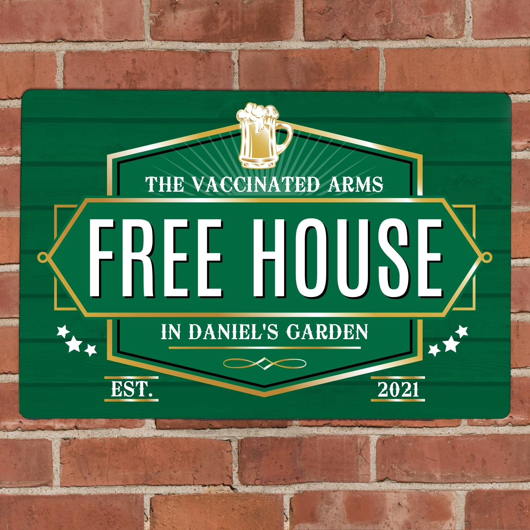 Personalised Free House Green Metal Sign (6560659505238)