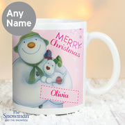 Personalised The Snowman and the Snowdog Pink Ceramic Mug - Shop Personalised Gifts