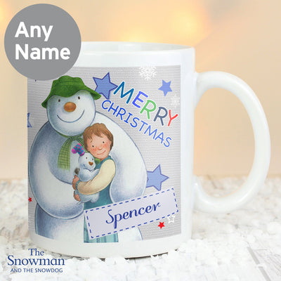 Personalised The Snowman and the Snowdog Blue Ceramic Mug - Shop Personalised Gifts