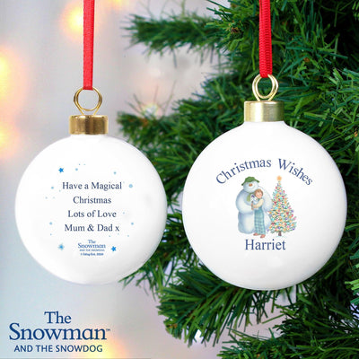 Personalised The Snowman and the Snowdog Friends Bauble
