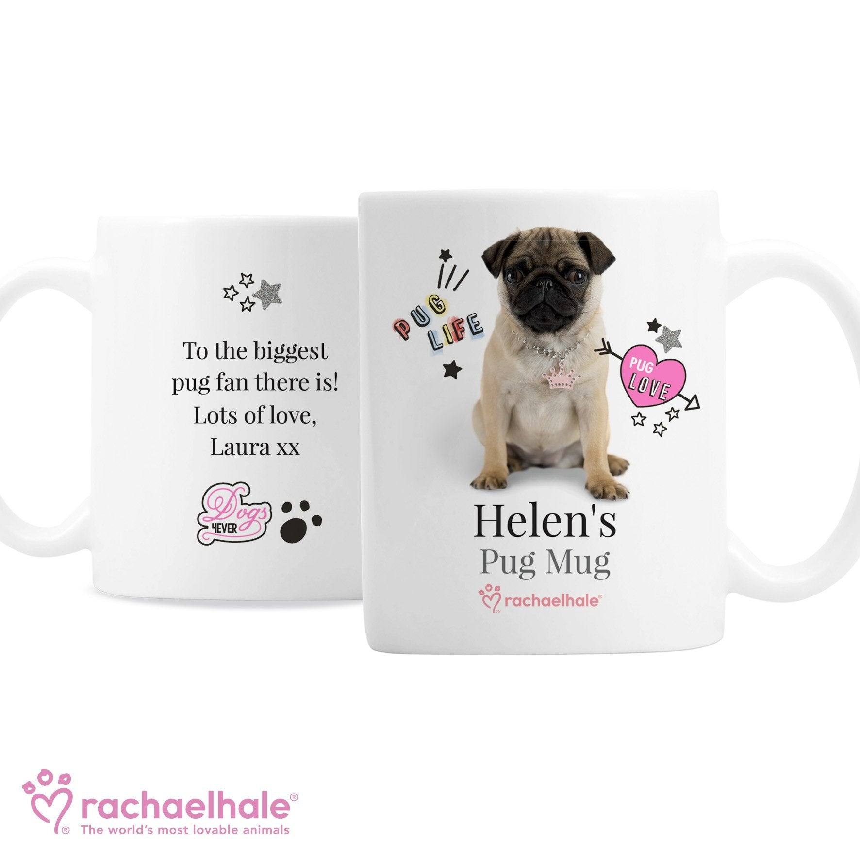 Personalised Rachael Hale Ceramic Doodle Pug Mug - Shop Personalised Gifts (4476449587286)
