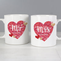 Personalised Mr and Mrs Valentine's Day Ceramic Confetti Hearts Mug Set - Shop Personalised Gifts