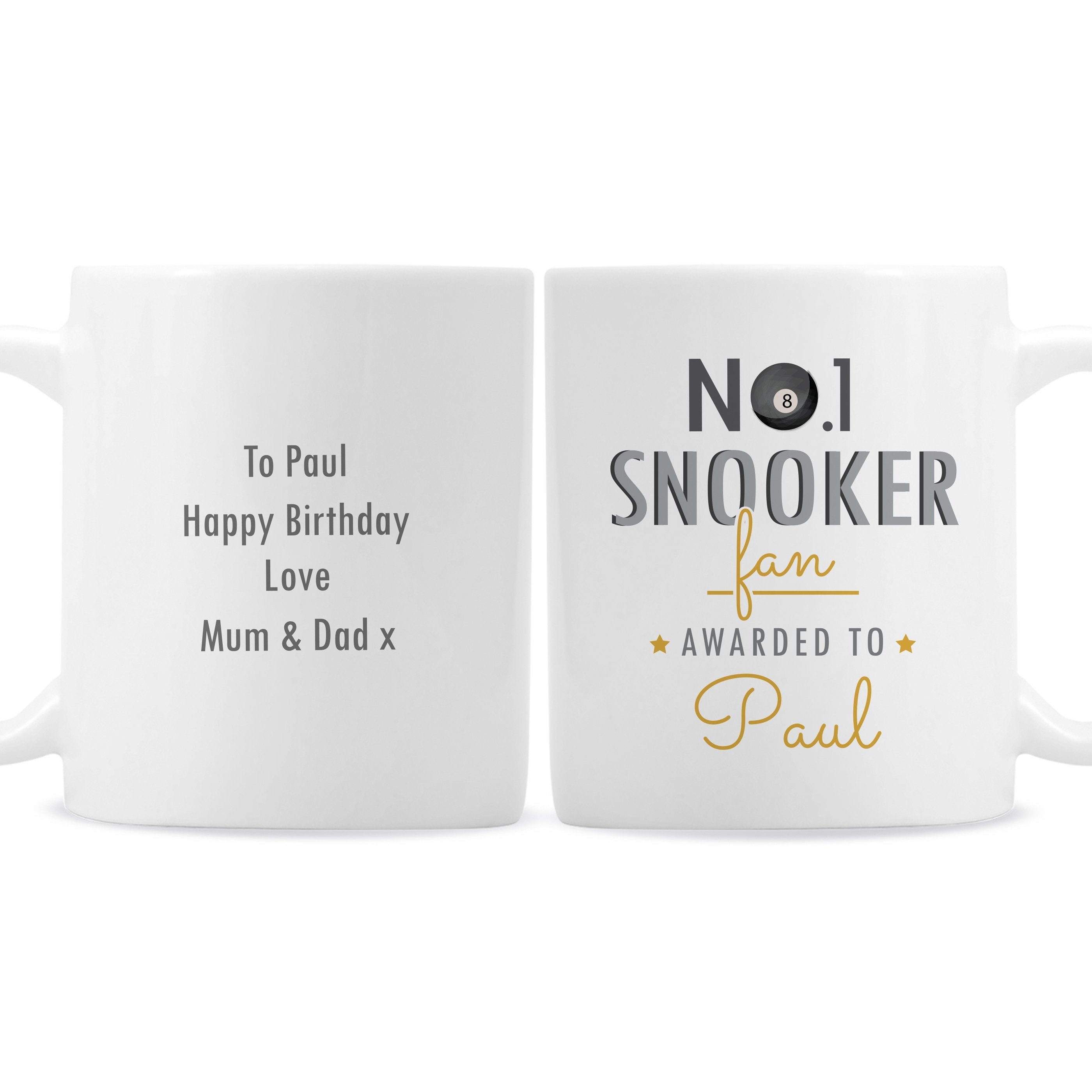 Personalised No.1 Snooker Fan Ceramic Mug - Shop Personalised Gifts