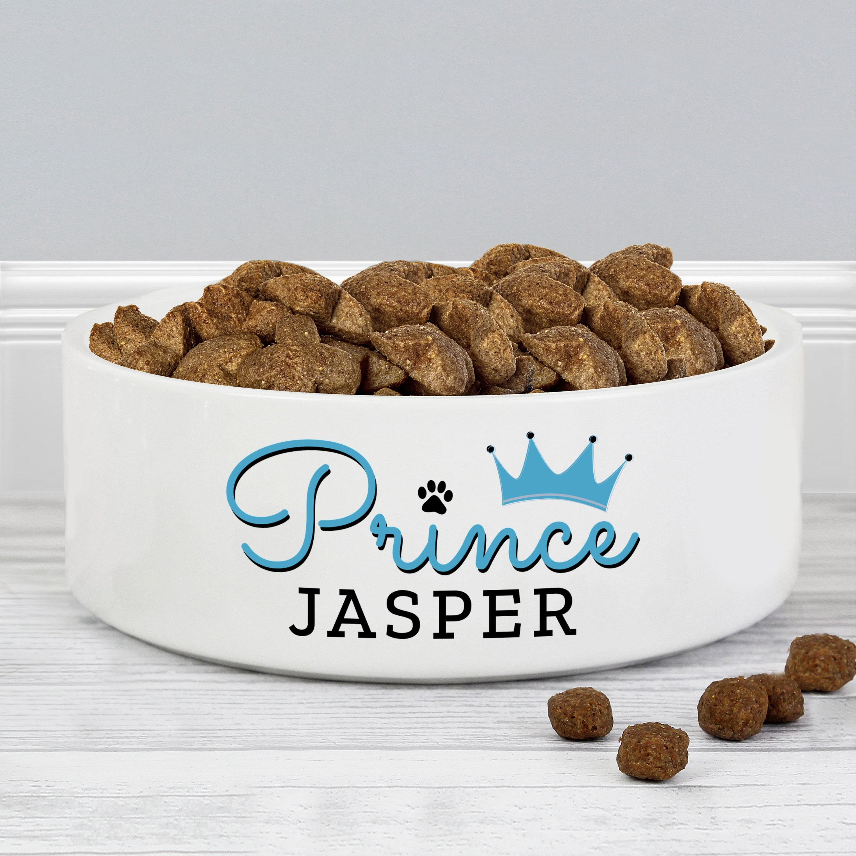 Personalised Prince 14cm Medium Ceramic White Pet Bowl - Shop Personalised Gifts (4814791475286)