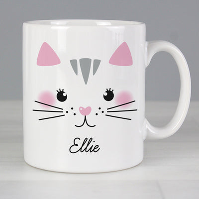 Personalised Cute Cat Face Ceramic Mug