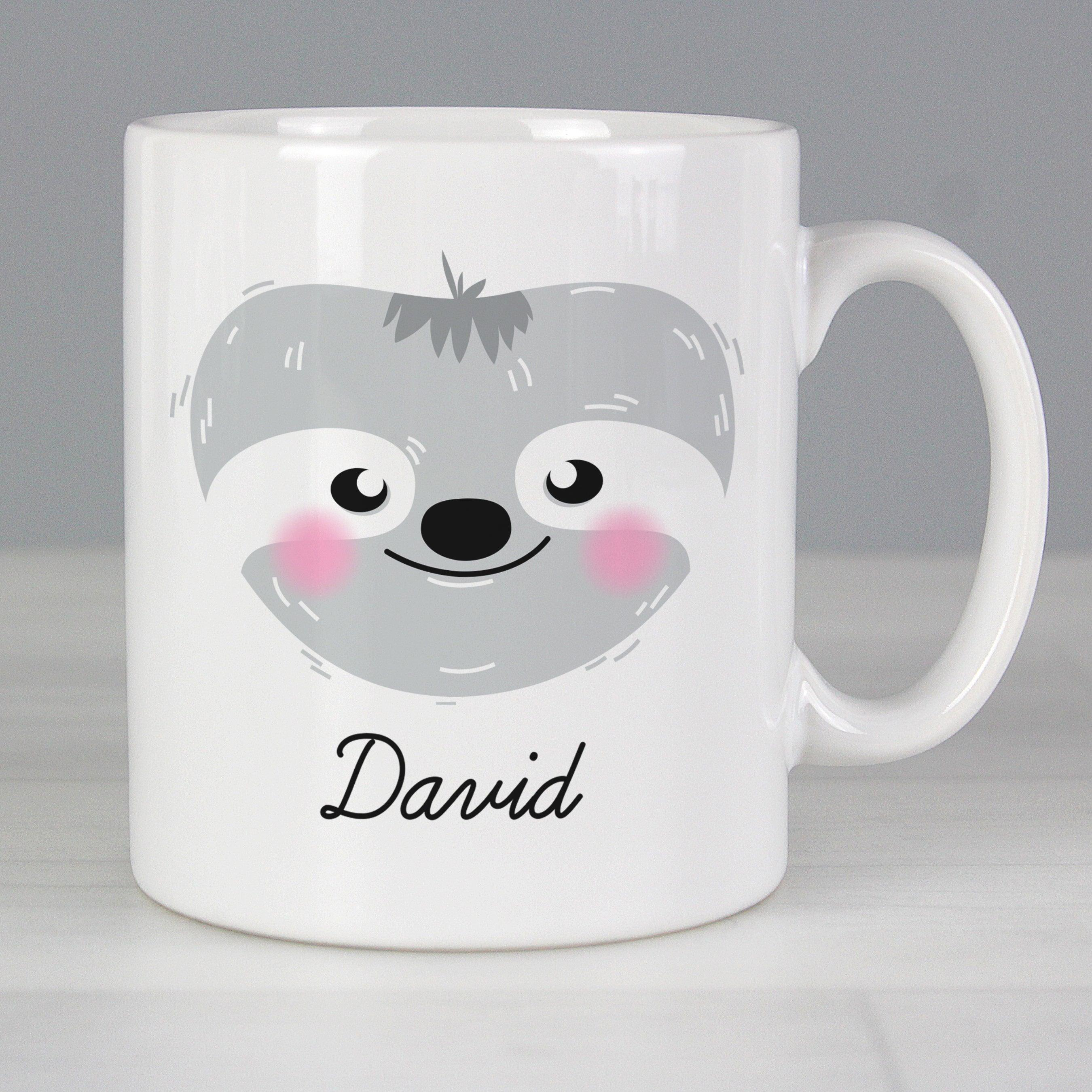 Personalised Cute Sloth Face Ceramic Mug (4923517075542)