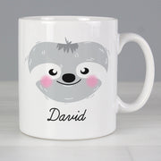 Personalised Cute Sloth Face Ceramic Mug