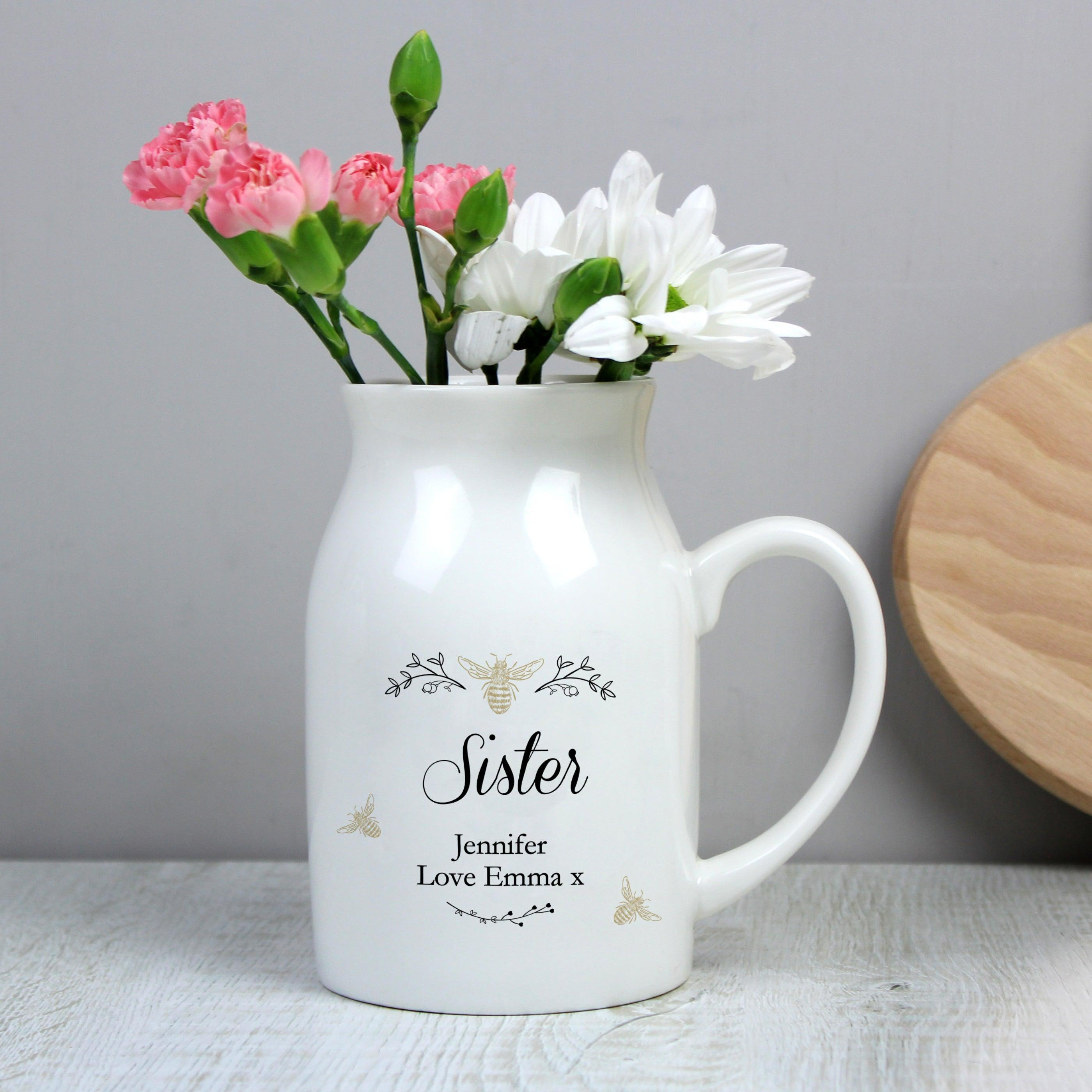 Personalised Floral Bee Ceramic Flower Jug