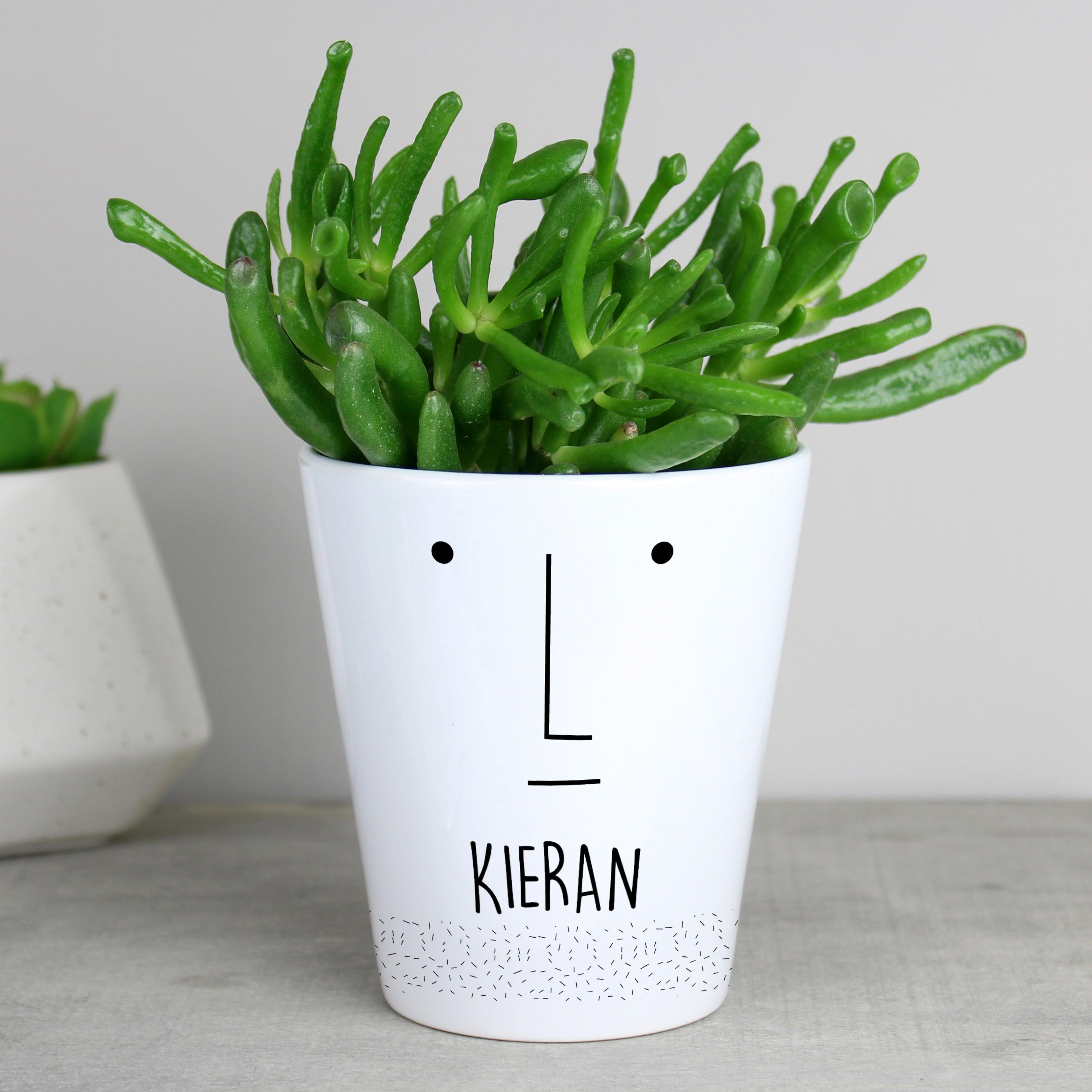 Personalised 'Mr Face' Ceramic Plant Pot