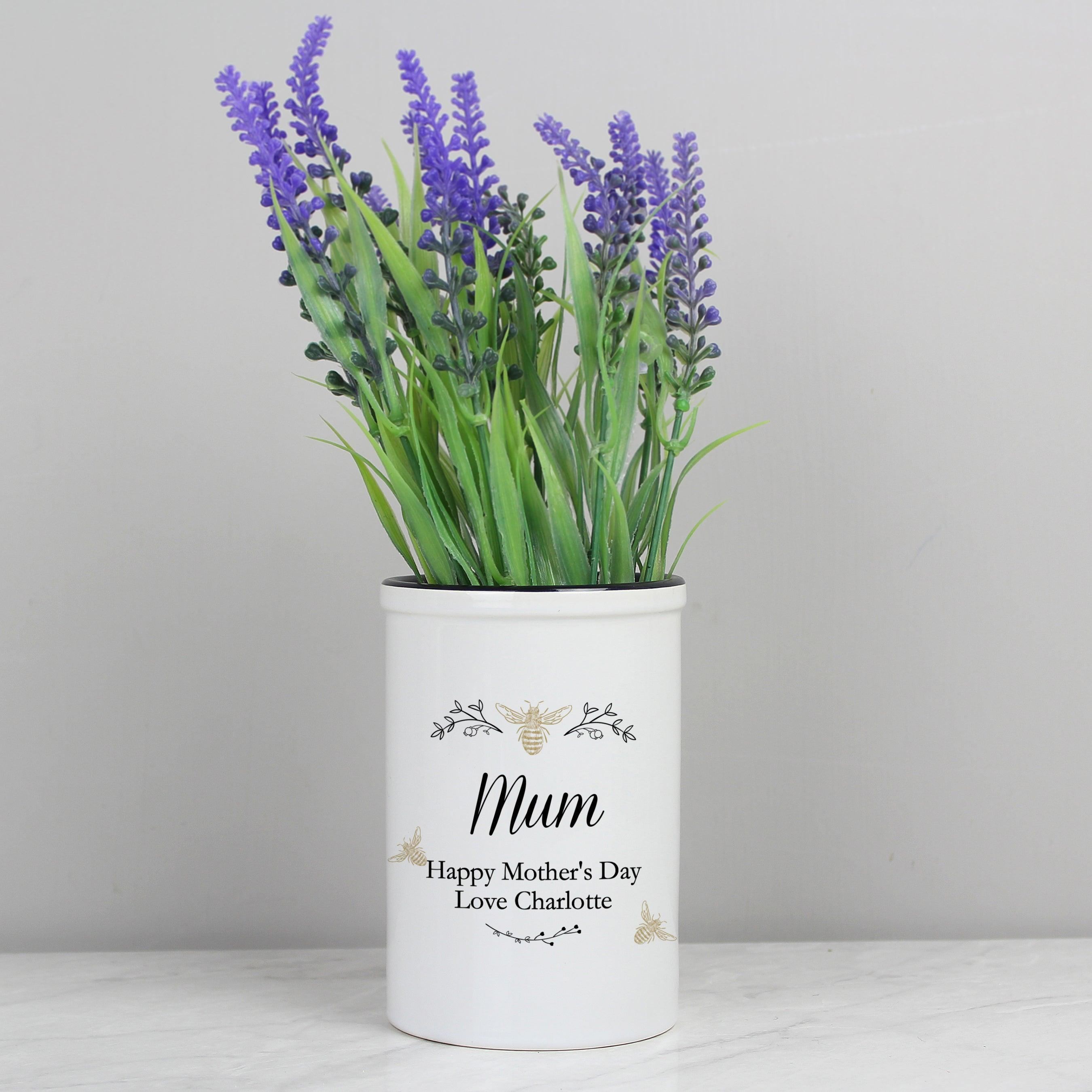 Personalised Floral Bee Straight Sided Ceramic Flower Pot