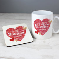 Personalised Valentine's Day Ceramic Confetti Hearts Mug & Coaster Set - Shop Personalised Gifts