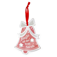 Personalised Jingle All The Way Bell Metal Hanging Decoration
