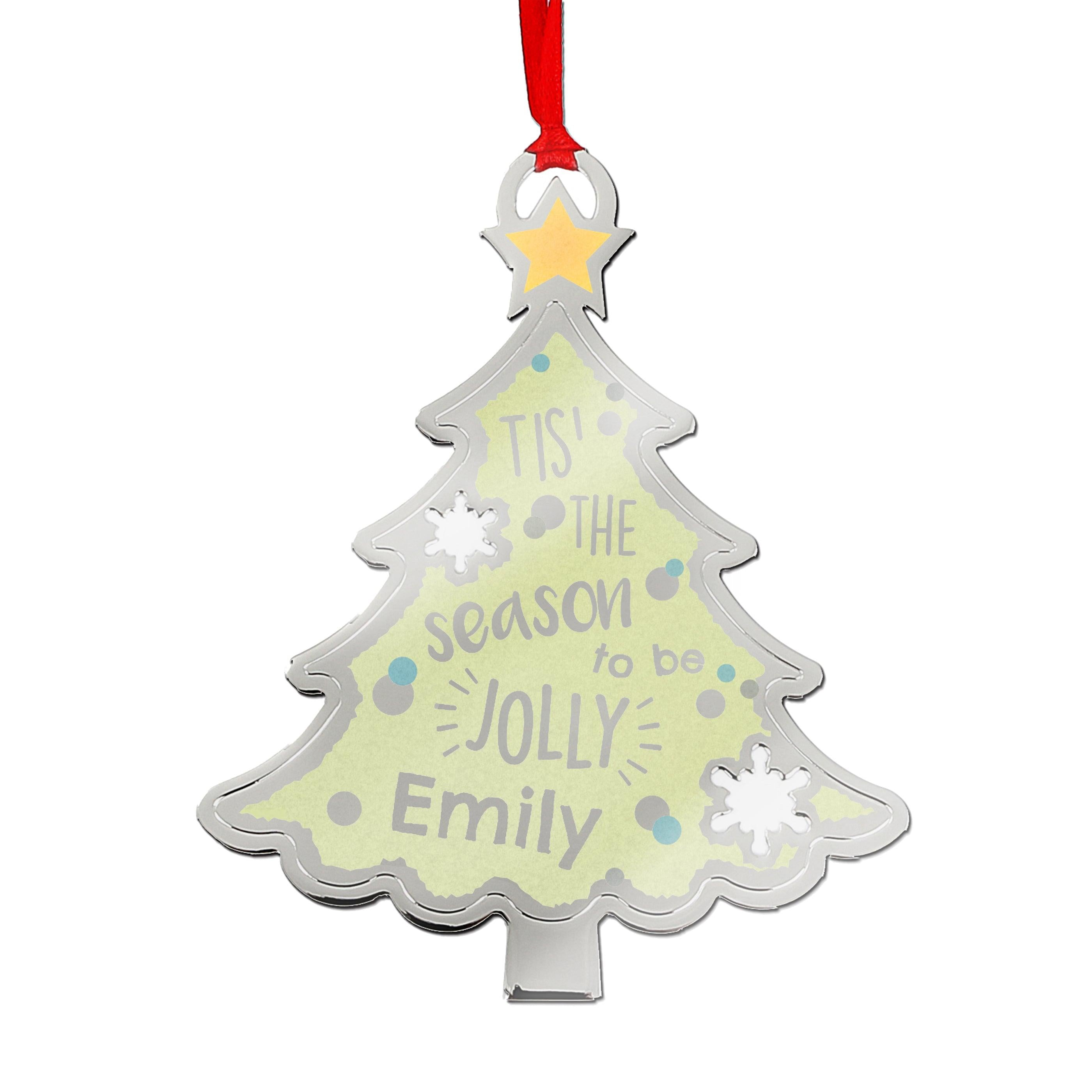 Personalised Tis' The Season To Be Jolly Tree Metal Hanging Decoration