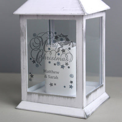 Personalised Silver Reindeer White Lantern - Shop Personalised Gifts