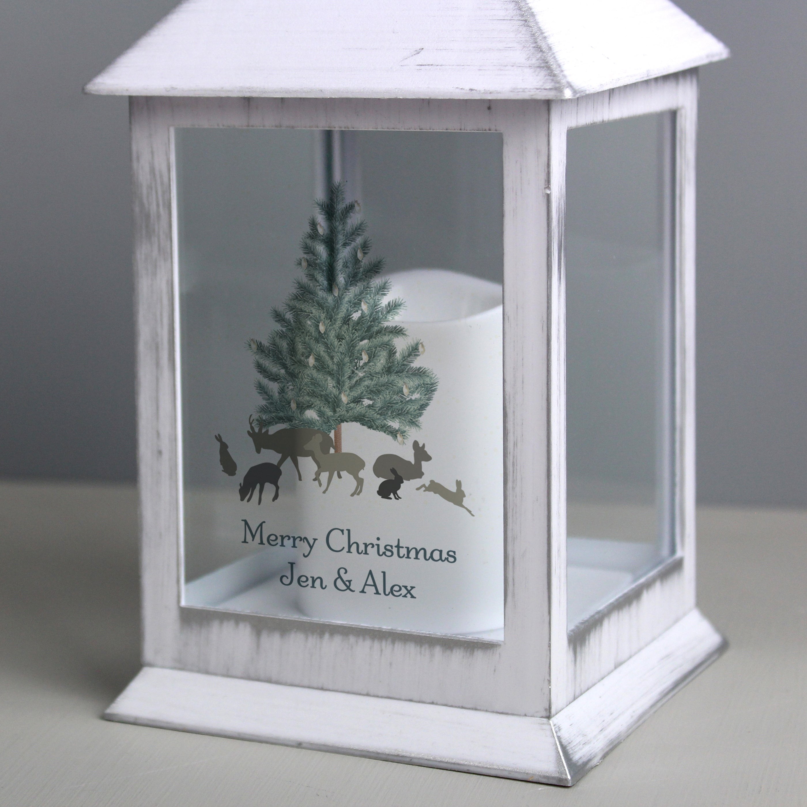 Personalised A Winter's Night White Lantern - Shop Personalised Gifts
