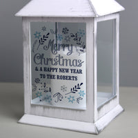 Personalised Christmas Frost White Lantern - Shop Personalised Gifts