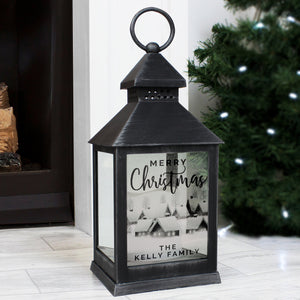 Personalised Town Christmas Rustic Black Lantern - Shop Personalised Gifts