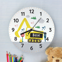 Personalised Digger Wooden Clock - Shop Personalised Gifts